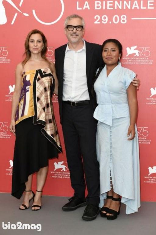 آلفونسو کوآرن و یالیتزا آپاریسیو و مارینا د تاویرا - جشنواره فیلم ونیز 2018