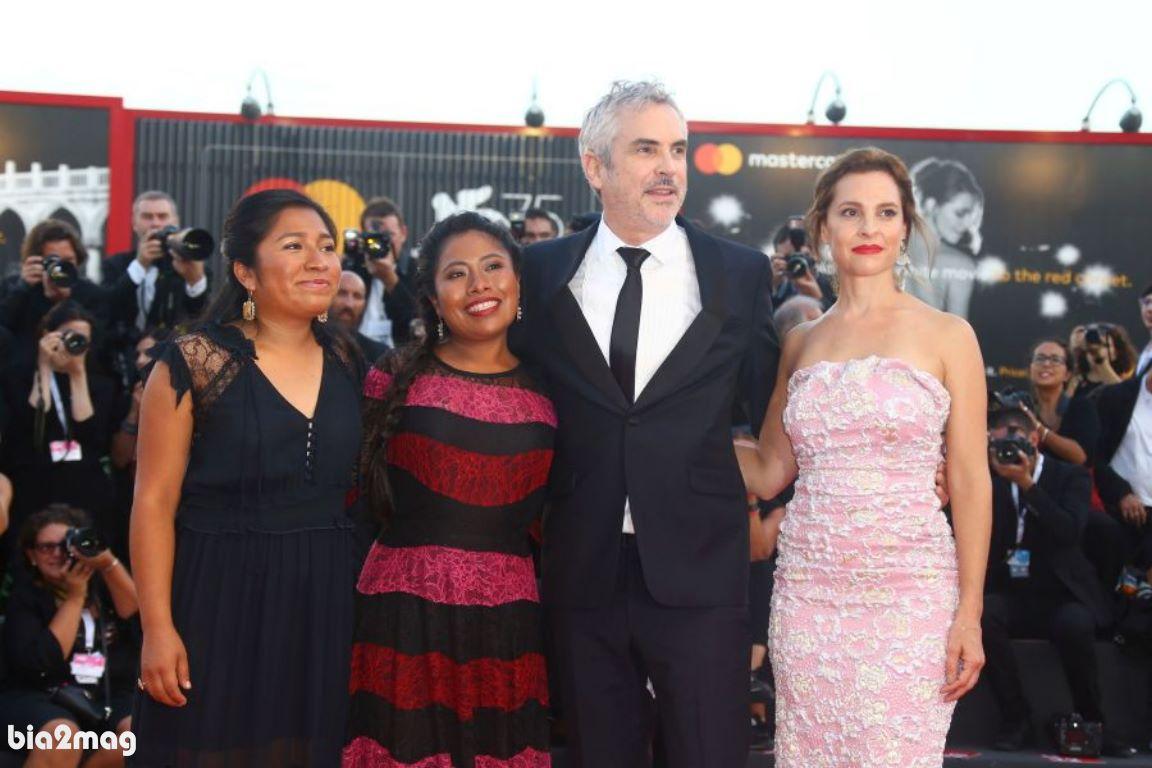 نانسی گارسیا، آلفونسو کوآرون، یالیتزا آپاریسیو و مارینا د تاویرا - جشنواره فیلم ونیز 2018